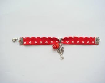 fabric red acrylic Bead Bracelet