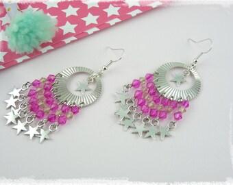 Sparkling stars earrings - pink