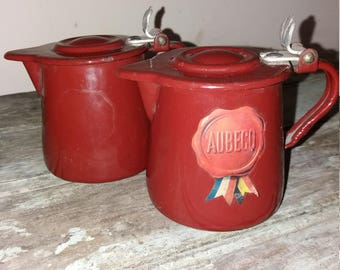 2 French Vintage Brown Enamel Milk Pots,Kitchen,Decor,Country Kitchen,Rustic,Coffee,Tea,Enamelware