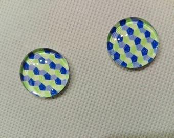 set x 2, glass, geometric pattern, 20mm cabochons