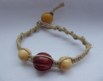 Hemp Bracelet with Light & Dark Wood Beads