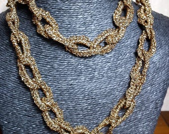 long sparkly old gold crochet