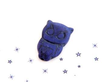 Purple reconstituted stone OWL pendant bead