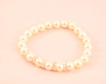 Silver plated Mallorca Pearl and swarovski crystal Bcacelet