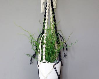 Bohemian hanging macrame black and white fringes for plant