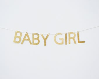 Baby girl banner, baby shower banner, its a girl banner, baby girl garland, gold baby shower, welcome baby girl, baby shower decor girl baby