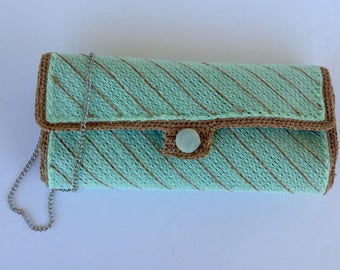 Occasion clutch bag, clutch bag teal, tulle on net, pastel colors