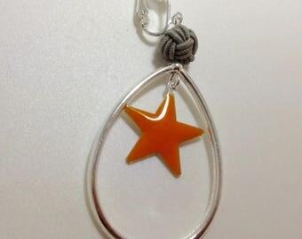 Pair of enamel star and oval earrings