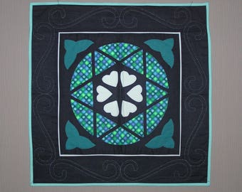 Patchwork blue stained glass