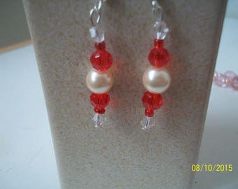 red glass bead earrings and Pearl White Pearl