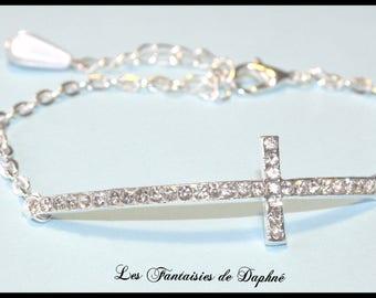 Adjustable bracelet silver rhinestone cross