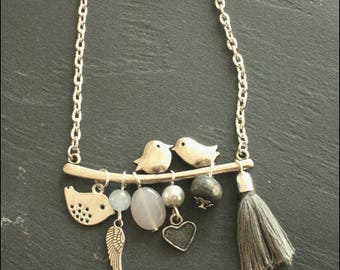Necklace birds on a branch in gray shades