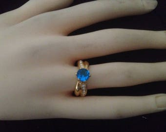 Ring plated gold & zirconium blue size 54