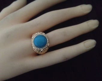 Plated ring gold, Pearl flat & rhinestones size 56