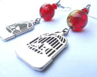 Retro vintage red and yellow bird cage earrings