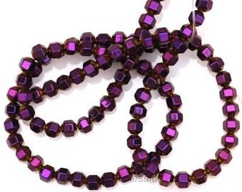 20 cube hematite - purple beads, 4mm