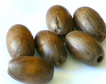 Pearl Brown wood oval 23x18mm