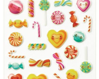 """Stickers Cooky relief """"Kawaii candy"""" x 34 - MAILDOR - Ref CY031"""