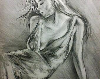 Tanguera - dessin crayon graphite format A3 - danseuse tango argentin robe danse femme sensuelle tableau noir et blanc cadeau pour lui homme