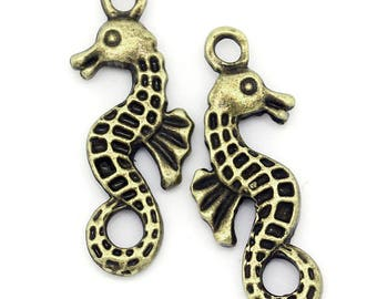 set of 10 charms bronze hanging seahorse 24 x 10 mm