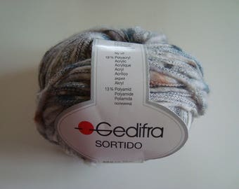 2 balls of 50 g combed SORTIDO de GEDIFRA - 9-10 needles - wool and acrylic grey blue Brown