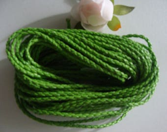 Green leather woven braided 3 mm diameter cord