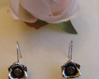 Antique silver hook earring