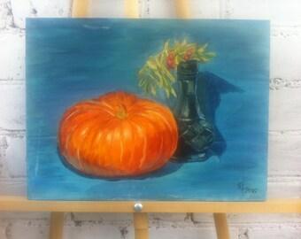 Autumn pumpkin and vase