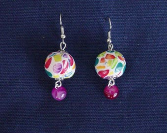 Harlequin and fuchsia Agate earrings