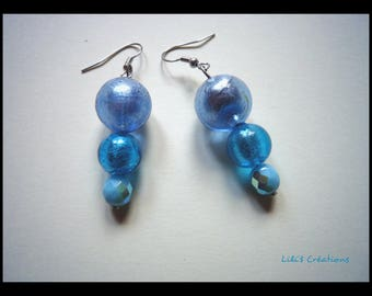 "Earrings ""Ice blue"" - glass beads"