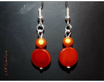 """Orange peel"" beaded earrings"
