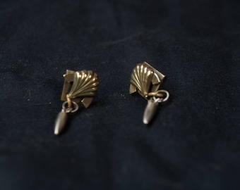 Sterling Silver Fan and Bullet Studs with Dangle