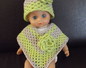 Lime green and beige poncho and hat set