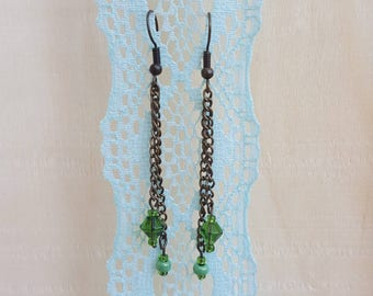 Green Beaded Dangle earrings with bronze chain Nickel free