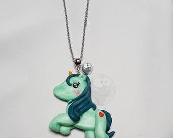 Unicorn necklace green Kawaii polymer clay