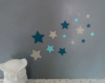 Set of stars in shades of blue