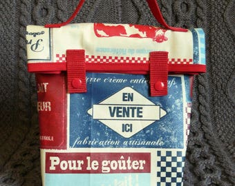 "Lunch bag or lunch in coated cotton bag ""dairy"""