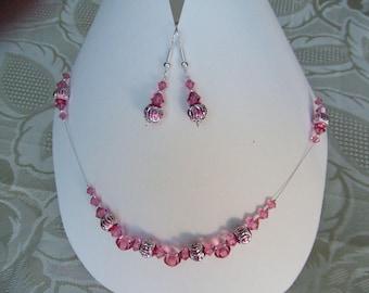 Set rose swarovski crystal
