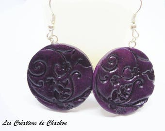"Deep Purple polymer clay ""stamped"" earrings"