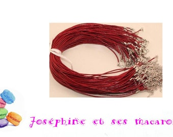 DARK red 1 necklace 46 cm faux leather
