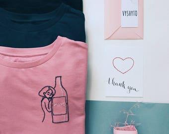 Wine Sweatshirt, Embroidered sweatshirt, Hand Embroidery, Crewneck sweatshirt, Blue sweatshirt, Cute sweatshirt, gift for her, Wine Lovers