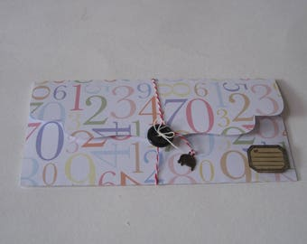Gift pouch, ticket, figure, kraft tag, scrapbooking