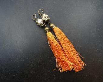 Big orange tassel earrings