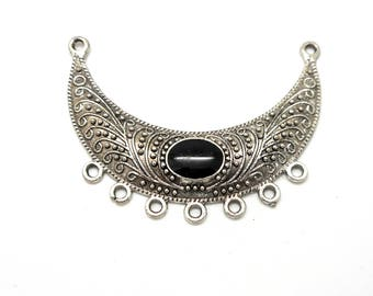Small black metal inlay bib style connector silver antique 7 holes