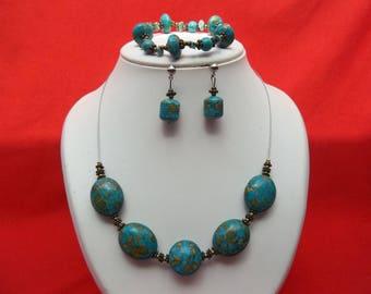 Turquoise blue natural stone parure