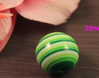 Pearl acrylic 20mm striped multicolor green creating jewelry