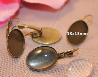 1 pair Stud Earrings oval bronze + 2 cabochons 18x13mm