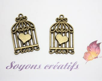 5 Charm Bronze heart-34x20mm creating jewelry - SC14348 - Bird Cage charms