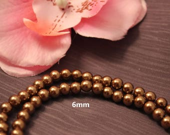 Set of 50 pearls 6mm Brown - creating jewelry-