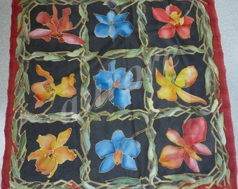 Square hand - baked in oven - made silk flowers on
